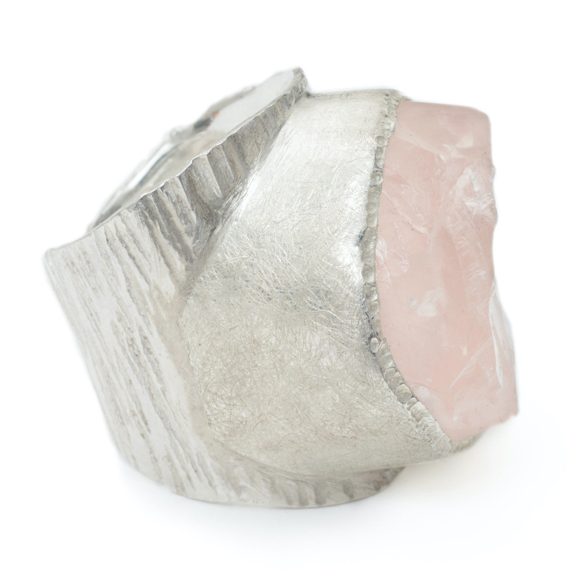 'Lover' Rose Quartz Macho Ring - Large Stone