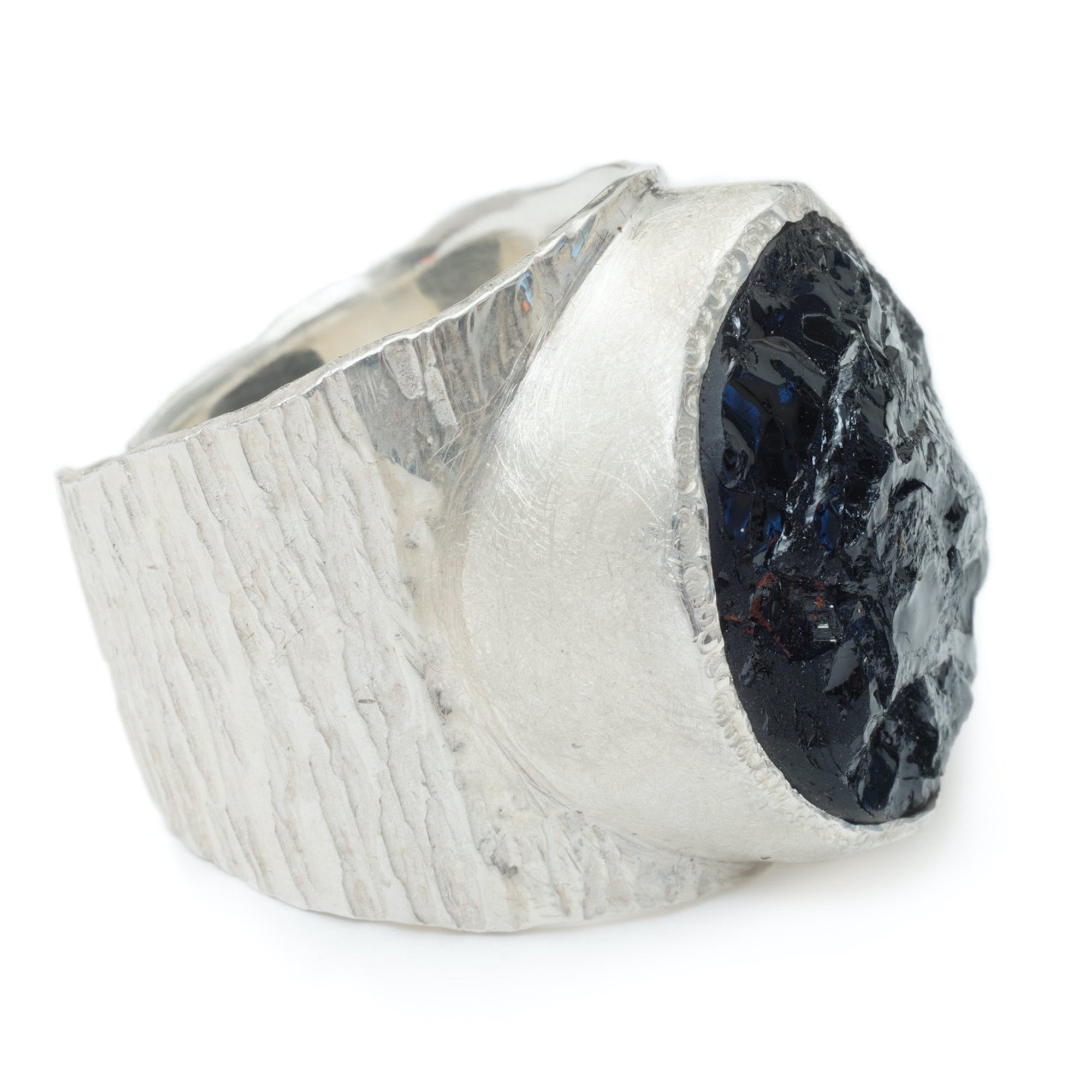 'Dark Horse' Black Tourmaline Macho Ring - Large Stone