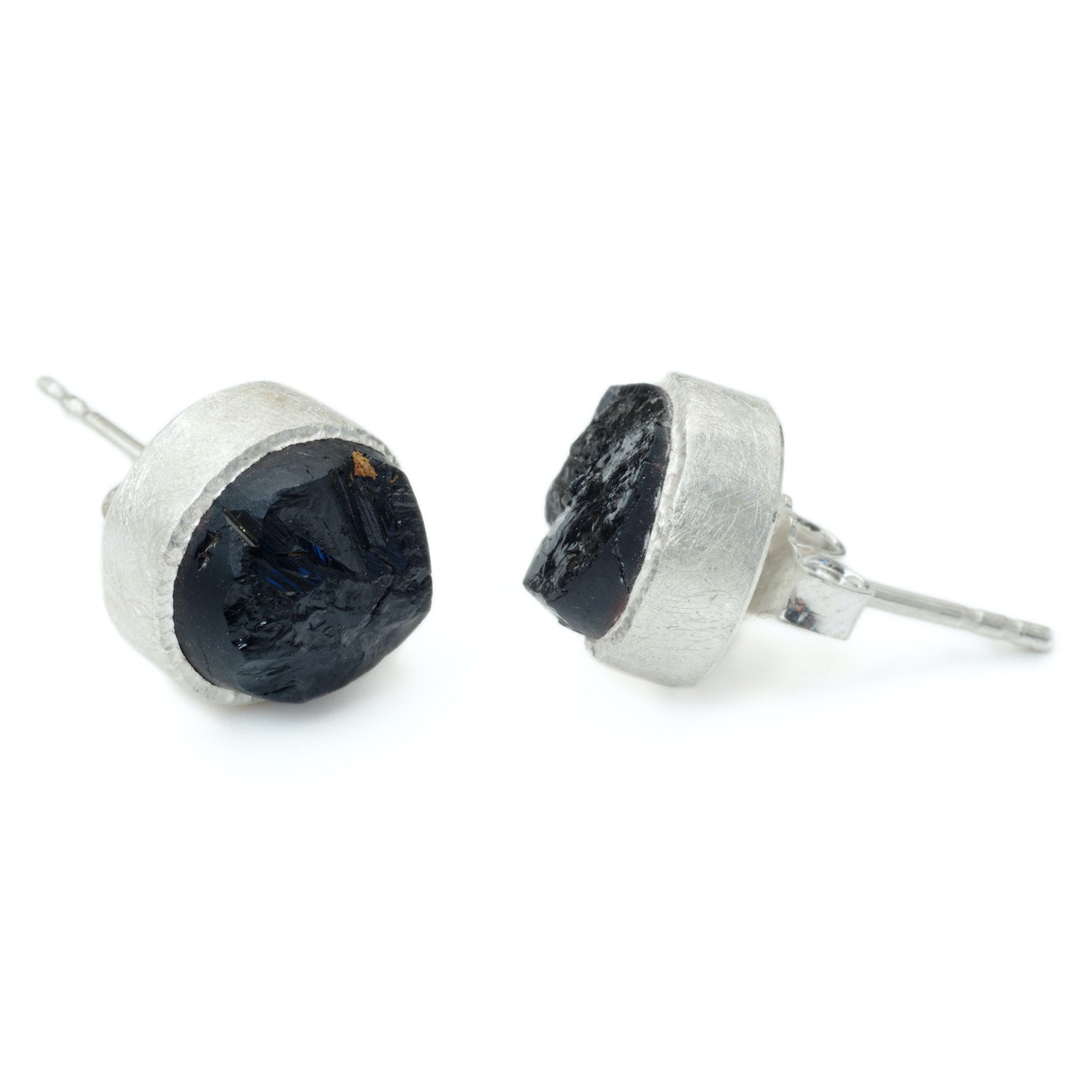 'Dark Horse' Black Tourmaline Raw Studs