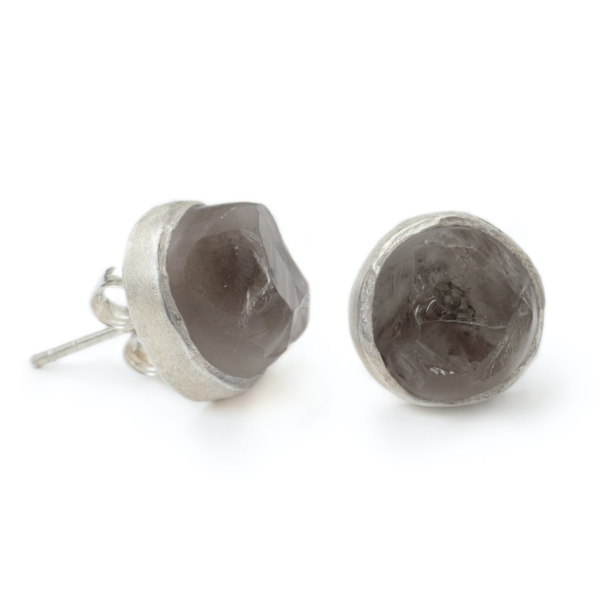 'Enigma' Smoky Quartz Raw Studs