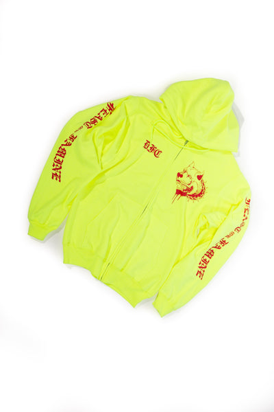 Neon Yellow and Red ZipUp S