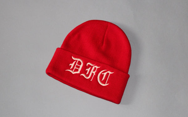 Rose Gold on Red Beanie