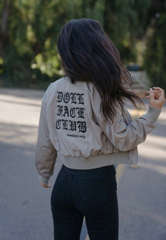 Embroidered Olive Cream Bomber