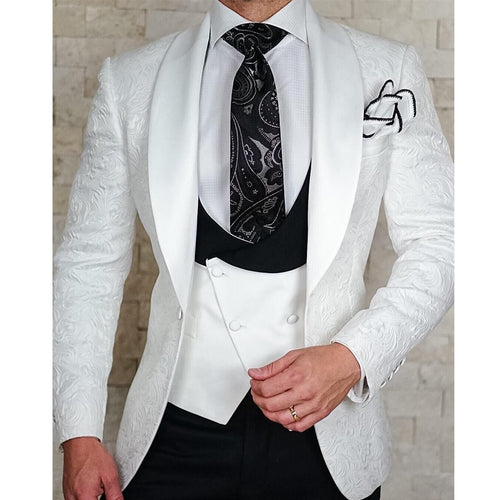 Item#8001 - Men's White Three-Piece with White/Black Waistcoat Jacquard Tuxedo - FortuneSuits.com
