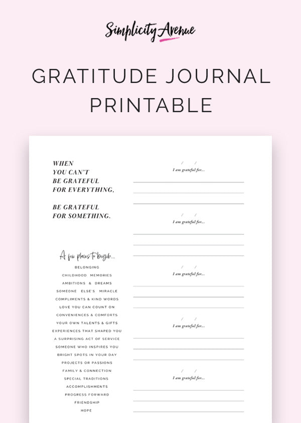A free gratitude journal printable page for daily positivity and gratitude in just a few lines a day.