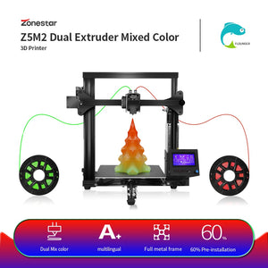 ZONESTAR Hot Sale Classics Dual Extruder Mixing Color Fast Easy Assembly High Precision Full Metal Aluminum 3D Printer DIY Kit