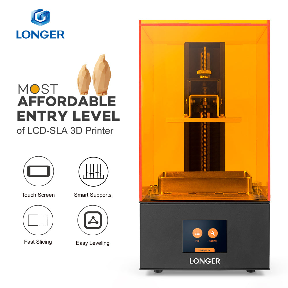 LONGER Orange 10 LCD 3D Printer Affordable SLA 3D Printer Metal Body Matrix LED Design Fast Cooling Easy Operate Resin Printer