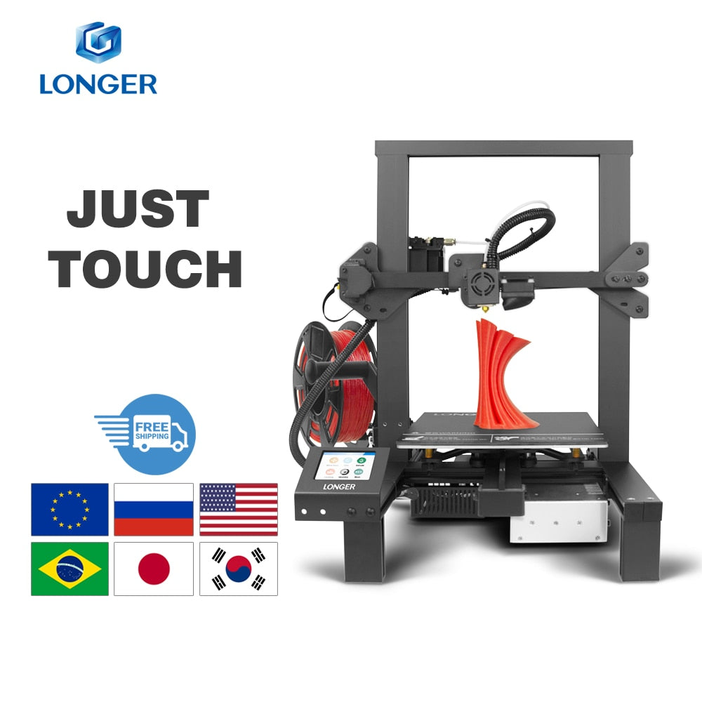 LONGER LK4 3D Printer Touch Screen 3D Print with Unique Frame Design Resume Printing Safe Power Supply 3D Printer Kit