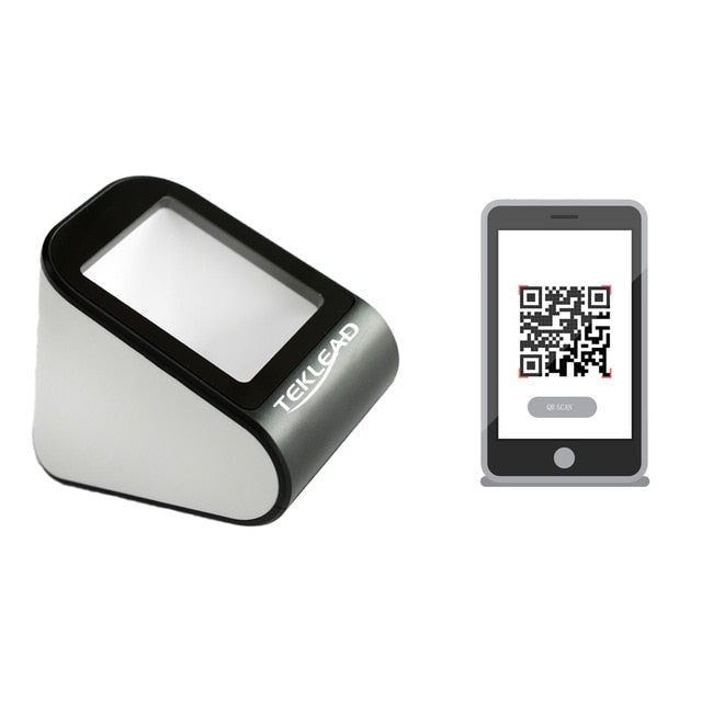 TEKLEAD Automatic 2D Barcode Scanner Hands-Free USB QR Barcode Reader for Mobile Payment for Store, Supermarket,Restaurant