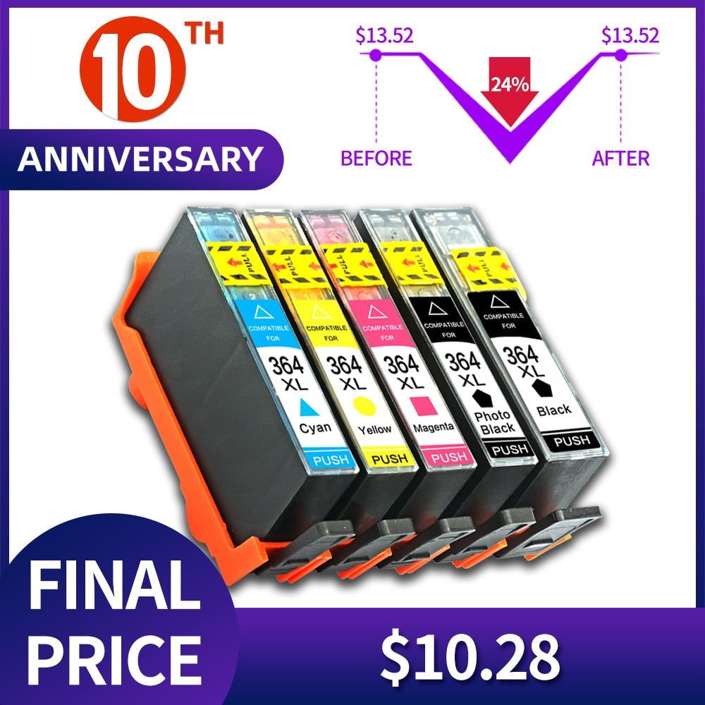 QSYRAINBOW Ink Cartridges for HP364xl for HP 364 364XL FOR Photosmart 5520 6510 6520 7510 B109 B110 B209 C310 C410 Printers