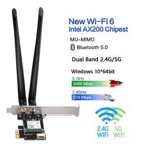Dual Band 2.4G/5G 3000Mbps Wireless Network Card PCIE Wifi Adapter For Desktop PC With Intel WiFi 6 AX200 Bluetooth 5.0 802.11ax