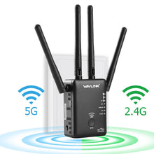 Load image into Gallery viewer, Wavlink wifi Repeater 5ghz 750/1200mbps Wireless Router Dual band 2.4Ghz Access point long signal amplifier Wi-Fi Range Extender