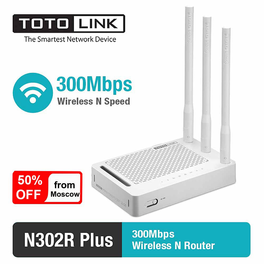 TOTOLINK Wireless Router N302R+ 300Mbps 2.4Ghz 4 *10/100Mbps LAN Ports Russian Firmware Wifi Router Delivery from Russia