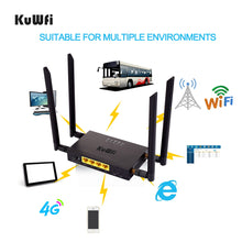 Load image into Gallery viewer, KuWFi CAT4 4G LTE CPE Car WiFi 300Mbps Industry Wireless Router High Speed CPE Router with SIM Card Slot /4pcs External Antenna