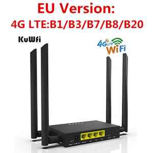 KuWFi CAT4 4G LTE CPE Car WiFi 300Mbps Industry Wireless Router High Speed CPE Router with SIM Card Slot /4pcs External Antenna