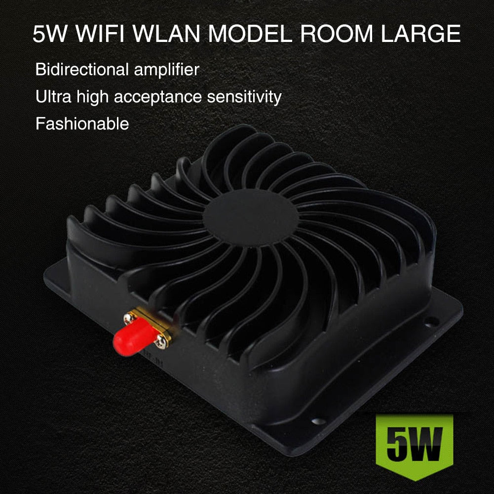 2.4GHz Black Durable Repeater 5W Aluminum Power Amplifier Broadband Low Noise WIFI High Power Signal Booster For Wireless Router