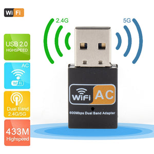 Mini Wireless USB WiFi Adapter 600Mbps wifi Antenna Network Card Dual Band 2.4G 5G Adapter Lan USB Ethernet Receiver Adapter