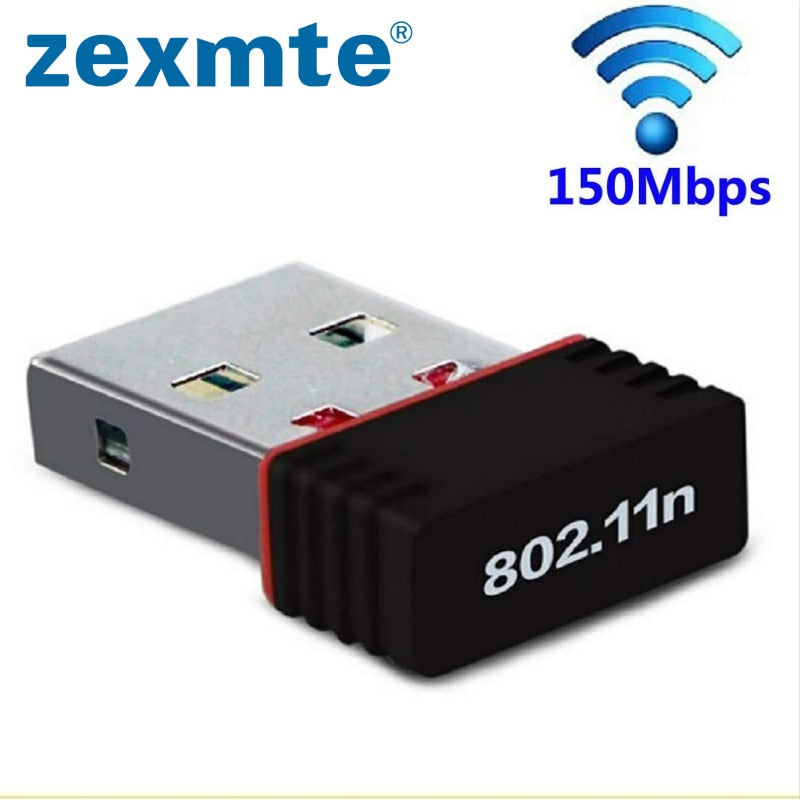 ZEXMTE Mini Wireless Network Card 150Mbps USB WiFi Adapter for PC Laptop Support window 10 8 7 MAC 2.4Ghz wireless adapter