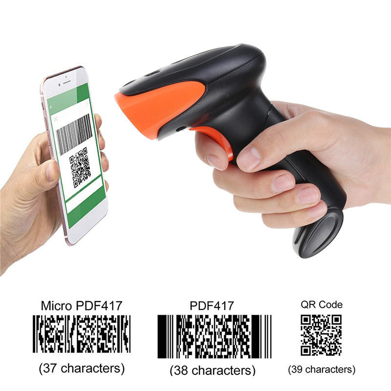 1D/2D Barcode Scanner Portable 2.4G USB Wireless Handheld Laser Light Scanner For Supermarket Store Win XP/7/8/10 laptop PC POS