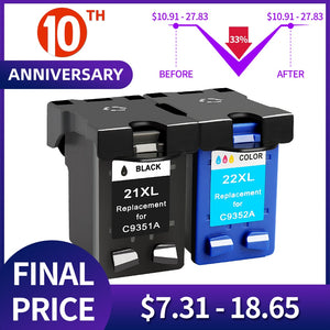 QSYRAINBOW Compatible 21 Black color Ink Cartridge Replacement for HP 21 22 HP21 for Deskjet F2280 F4180 F4100 F2100 F2200 F300