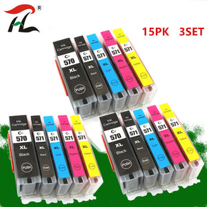 15PK  ink cartridge For Canon 570XL PGI-570 PGI570 CLI571 PGI570XL for Canon PIXMA MG5750 MG5751 MG5752 MG5753 MG6850 printer
