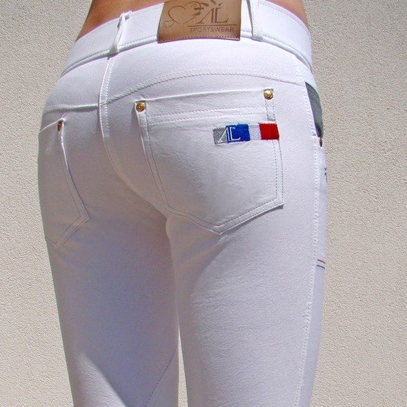 pantalon d'equitation technique capital blanc dos alexandra ledermann sportswear alsportswear
