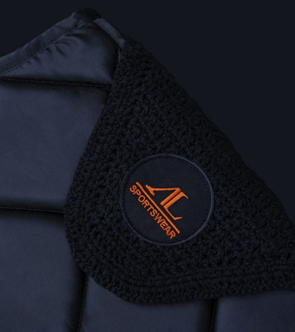 ensemble tapis bonnet cheval noir logo orange zoom alexandra ledermann sportswear alsportswear