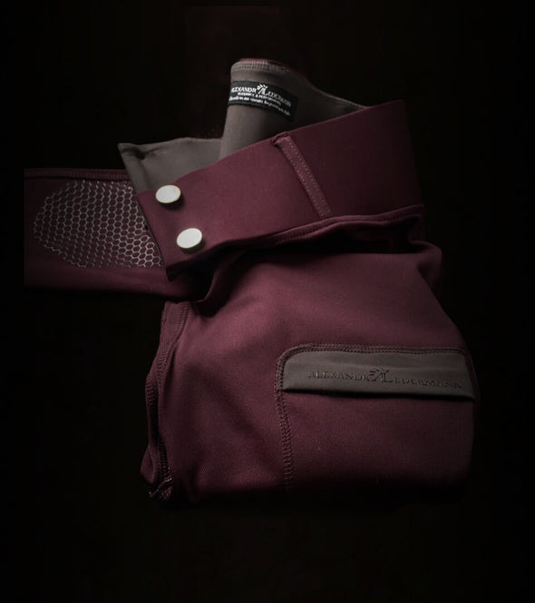 pantalon équitation full grip color vibes bordeaux et gris anthracite a plat alexandra ledermann sportswear al sportswear