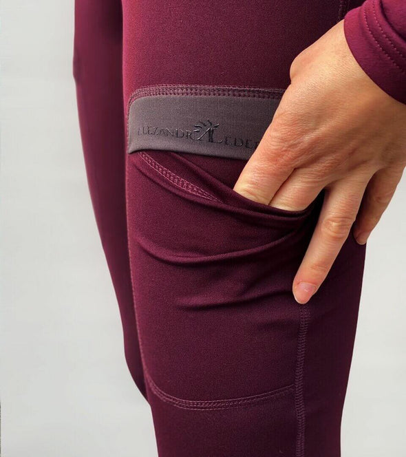 pantalon équitation full grip color vibes bordeaux et gris anthracite poche alexandra ledermann sportswear al sportswear