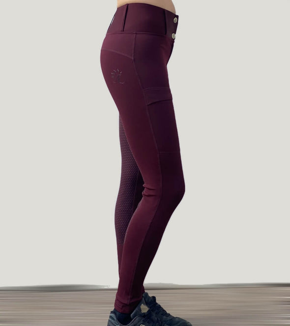 pantalon équitation full grip color vibes bordeaux et gris anthracite profil droit alexandra ledermann sportswear al sportswear