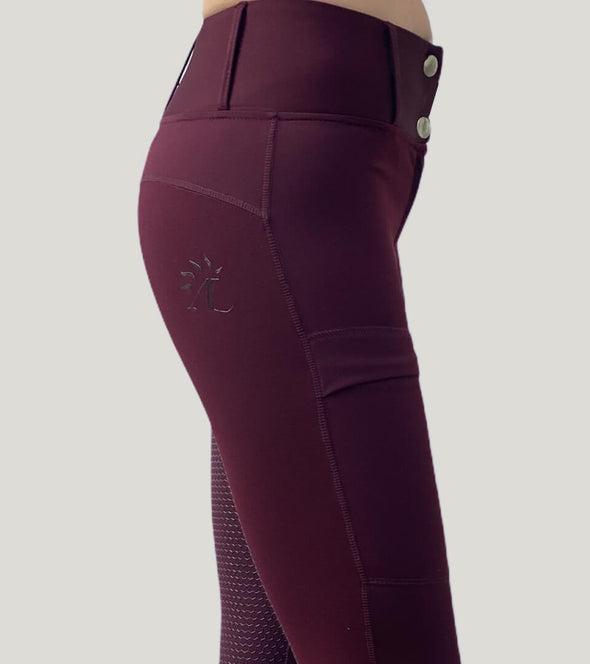 pantalon équitation full grip color vibes bordeaux et gris anthracite profil droit zoom alexandra ledermann sportswear al sportswear