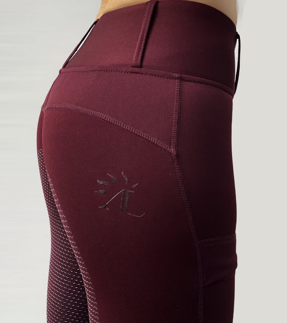 pantalon équitation full grip color vibes bordeaux et gris anthracite zoom logo alexandra ledermann sportswear al sportswear