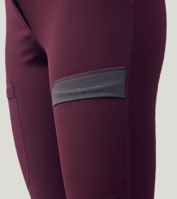 pantalon équitation full grip color vibes bordeaux et gris anthracite zoom poche alexandra ledermann sportswear al sportswear