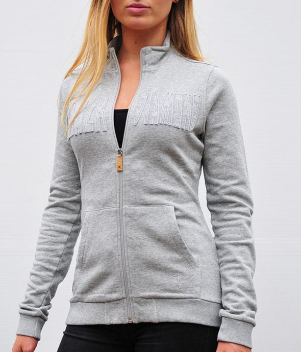 sweat monday gris clair chiné col ouvert alexandra ledermann sportswear alsportswear