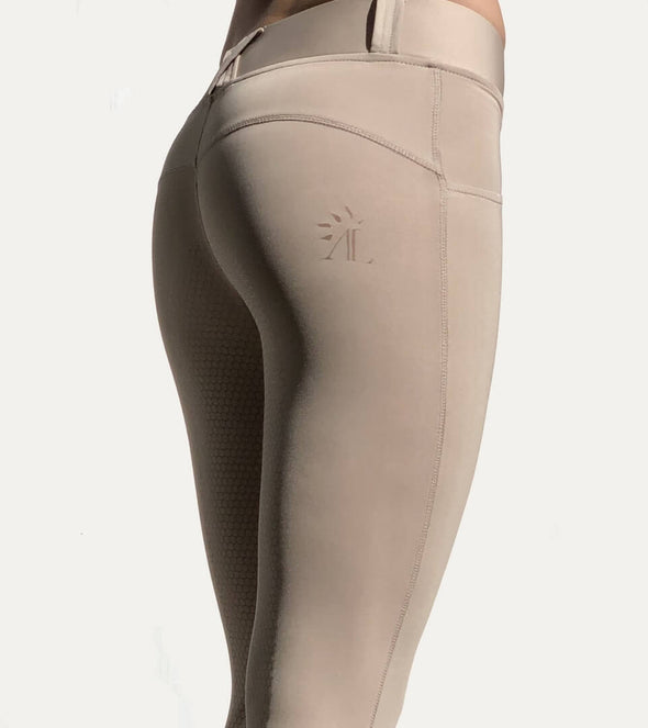 pantalon d équitation full grip good vibes beige nacre legging alexandra ledermann sportswear