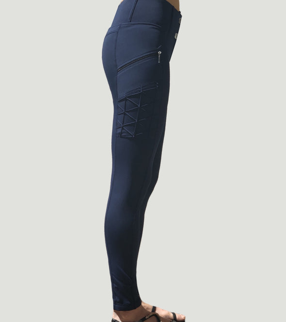 pantalon equitation full grip magic vibes bleu marine profil droit alexandra ledermann sportswear alsportswear