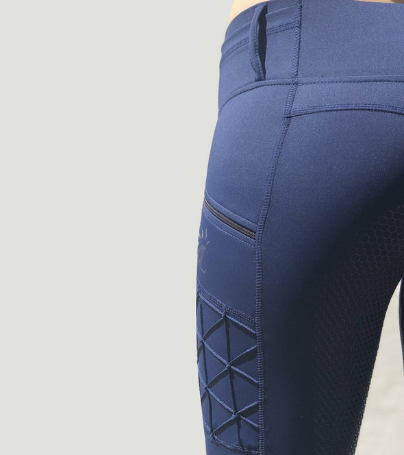 pantalon equitation full grip magic vibes bleu marine profil gauche alexandra ledermann sportswear alsportswear
