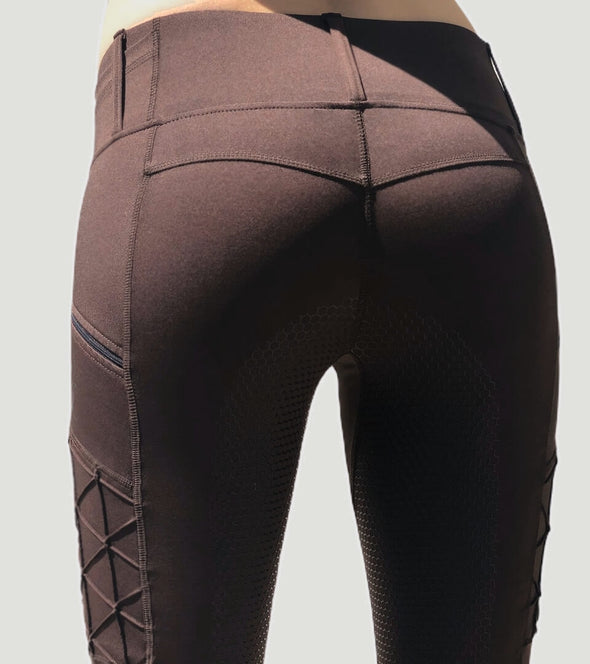 pantalon equitation galbant chocolat full grip magic vibes arriere alexandra ledermann sportswear alsportswear