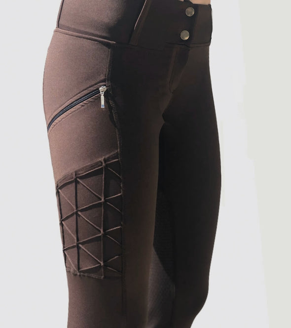 pantalon equitation full grip magic vibes chocolat avant alexandra ledermann sportswear alsportswear