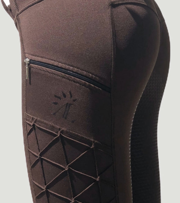 pantalon equitation full grip magic vibes chocolat zoom poche alexandra ledermann sportswear alsportswear