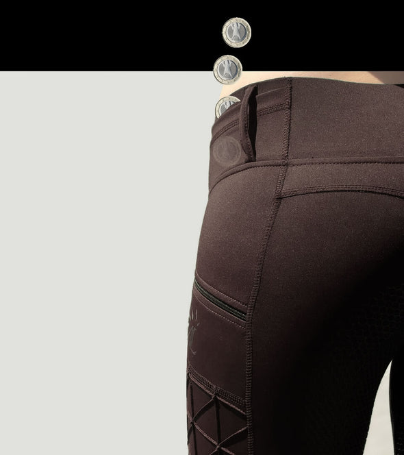 pantalon equitation full grip magic vibes chocolat poche monnaie alexandra ledermann sportswear alsportswear