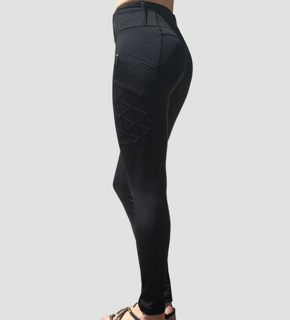 pantalon equitation full grip magic vibes noir profil alexandra ledermann sportswear alsportswear