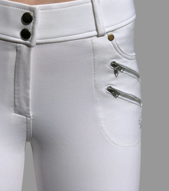 pantalon equitation technique rival grip blanc poches zip alexandra ledermann sportswear alsportswear