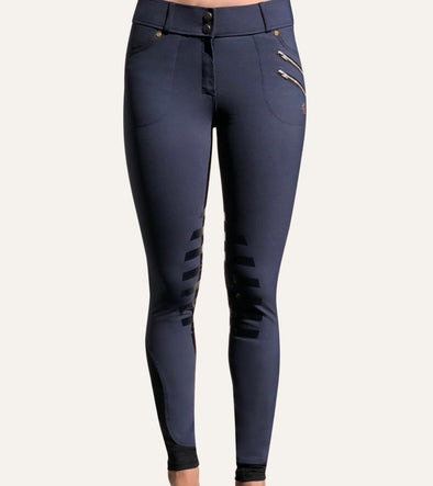 pantalon equitation technique rival grip bleu jean femme alexandra ledermann sportswear