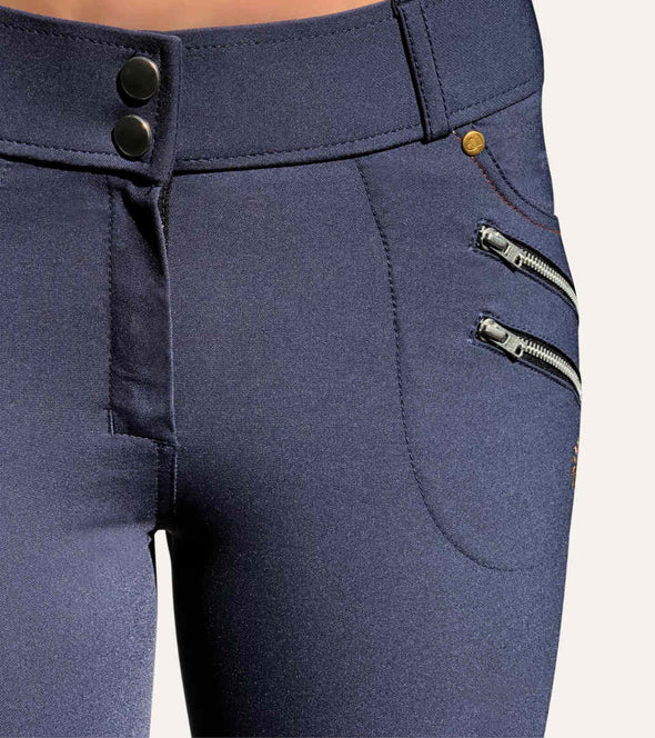 pantalon equitation technique rival grip bleu jean fermeture alexandra ledermann sportswear