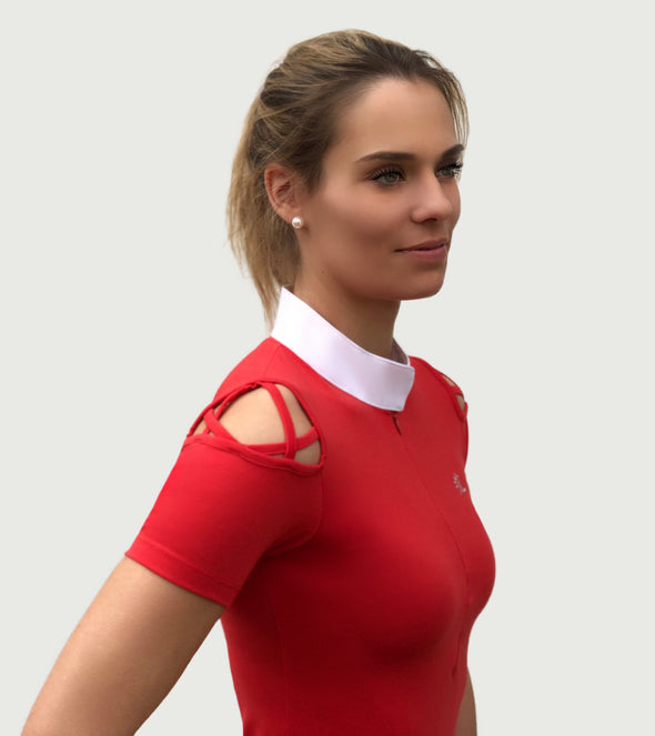 polo manches courtes unleash rouge femme alexandra ledermann sportswear alsportswear