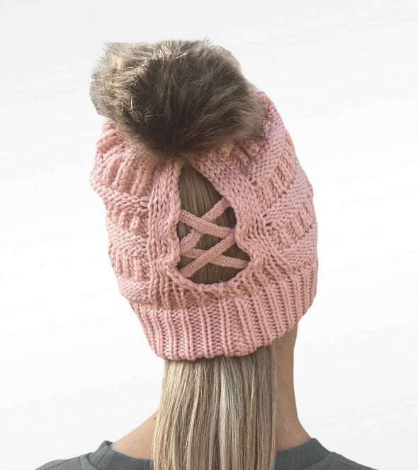 bonnet queue de cheval rose pompon ouverture alsportswear alexandra ledermann sportswear