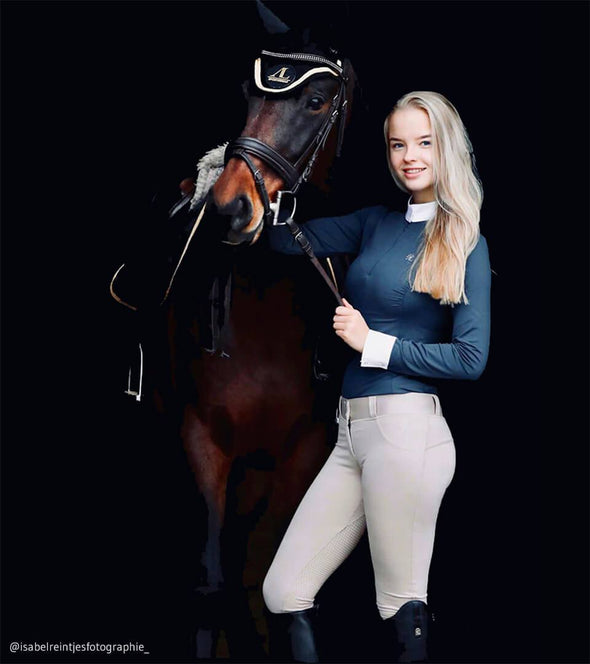 Pantalon d'équitation Full Grip Good Vibes Beige Nacré