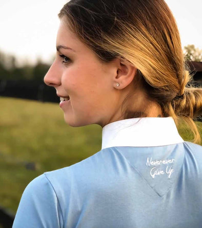polo goumy'elle bleu grisé never give up alexandra ledermann sportswear alsportswea