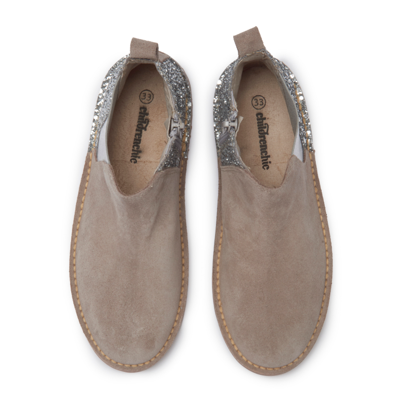 Girls' Childrenchic® Silver Sparkle and Taupe Suede Chelsea